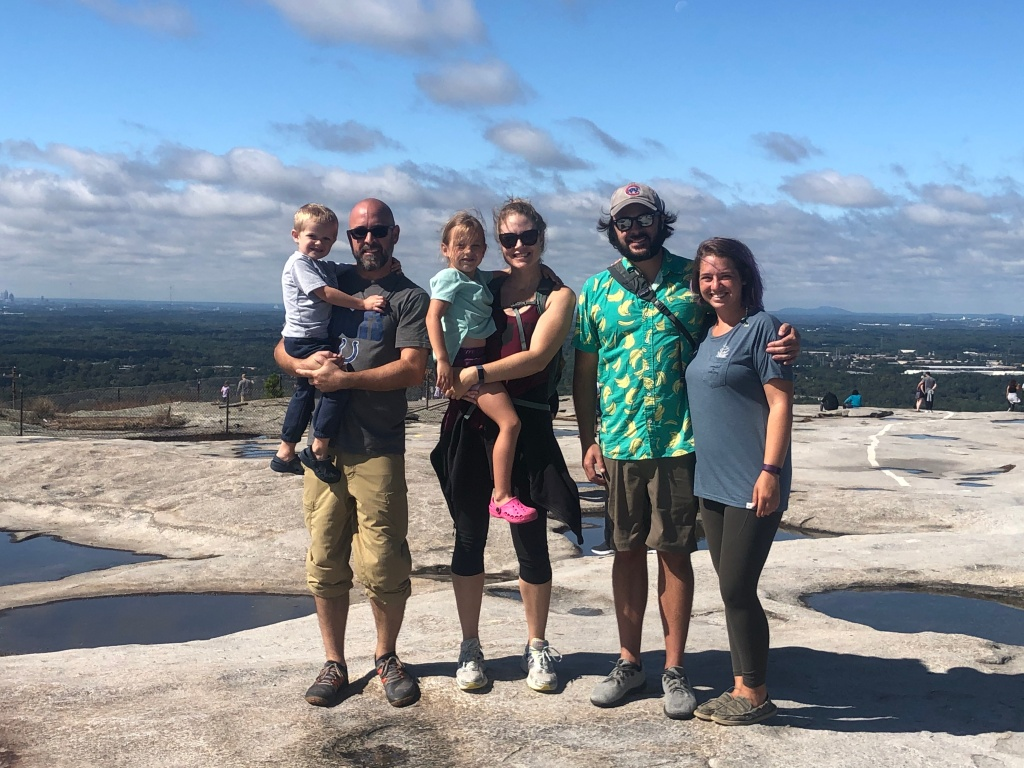 At the top of Stone Mountain with Shawn, his brother, Jeff, Jeff's wife, Kate, and their kids, Sam & Chase